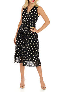 Anne Klein Leaf Print V Neck Belted Dress