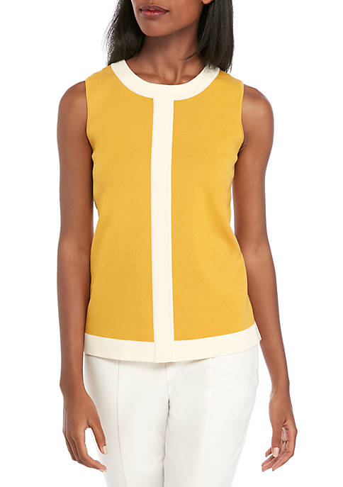 Anne Klein Color Block Sweater Tank