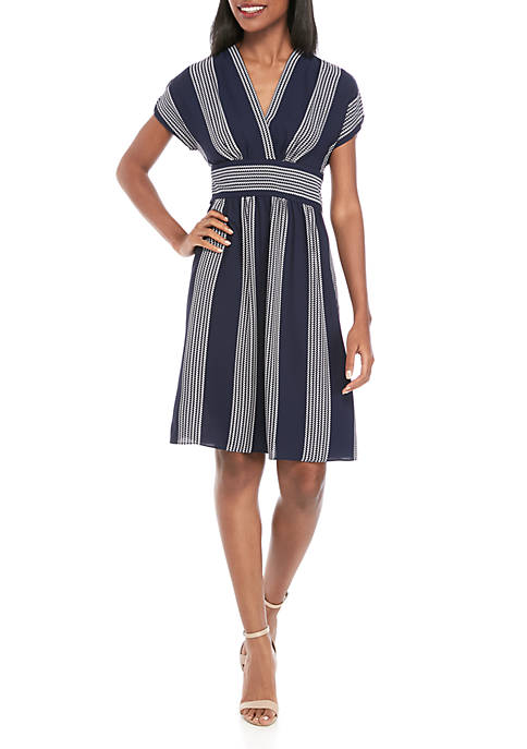 Anne Klein Rope Print V Neck Wrap Dress