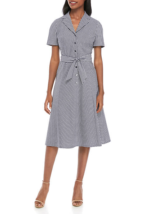 Anne Klein Stripe Notch Collar Dress