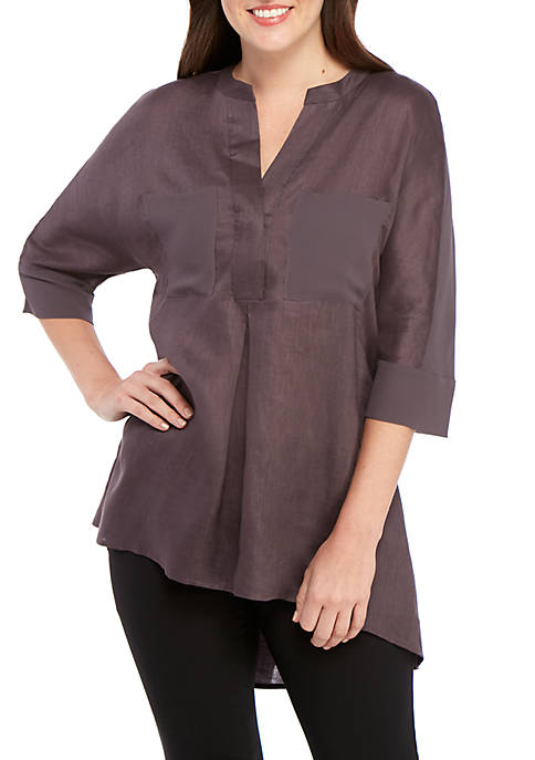 Anne Klein Front Pocket High Low Linen Tunic