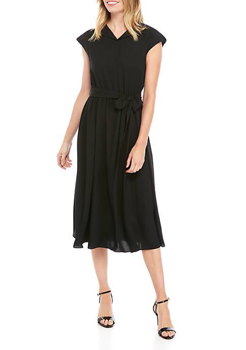 Envelope Collar Drawstring Dress