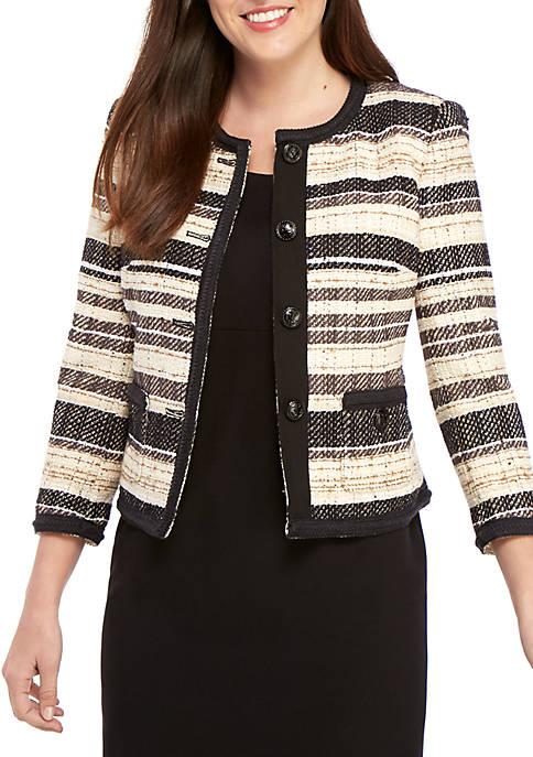 Anne Klein Jacquard Stripe Collarless Jacket