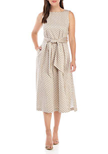 Anne Klein Sash Printed Midi Dress