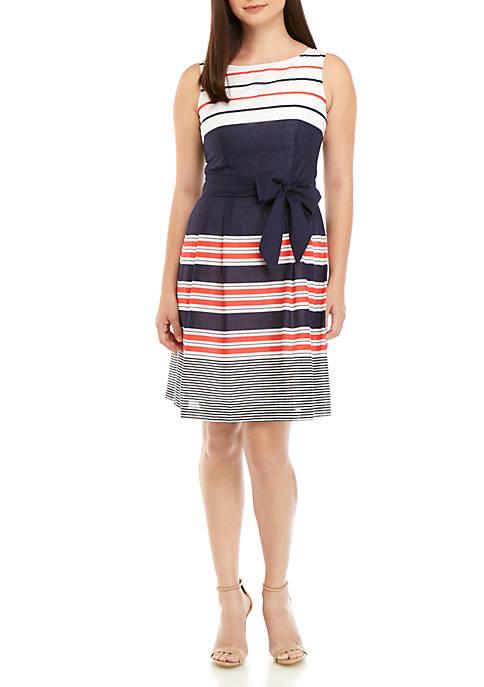 Anne Klein Multi Stripe Cotton Fit and Flare
