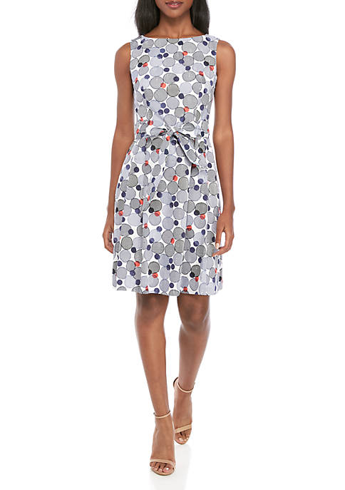 Anne Klein Circle Print Eyelet Fit and Flare