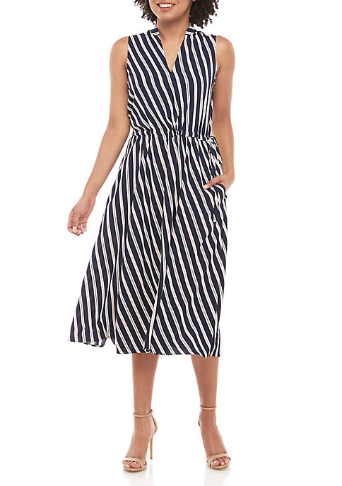 Stripe Drawstring Midi Dress