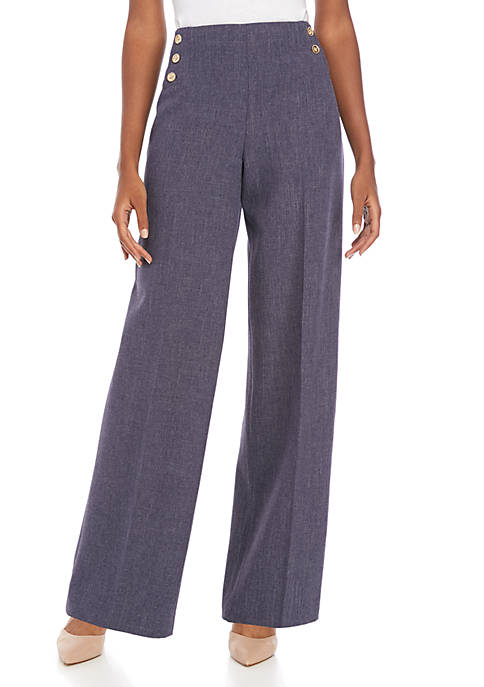 Anne Klein High Waist Sailor Button Pants