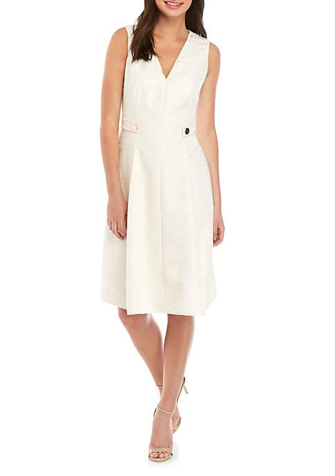 Jacquard V Neck Fit and Flare Dress