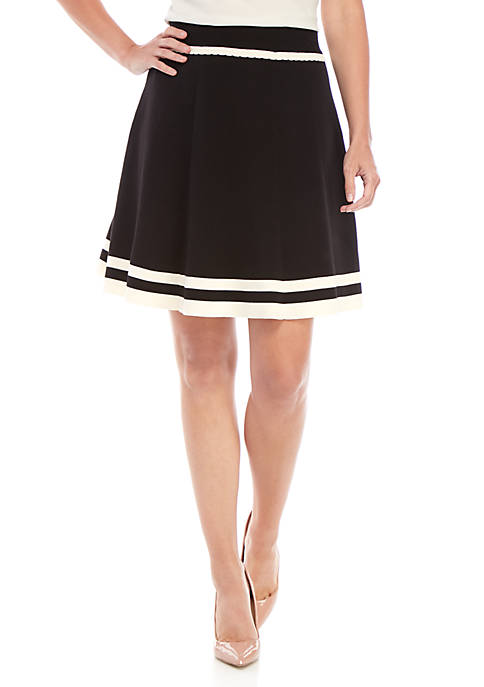 Anne Klein Tipped Flare Sweater Skirt