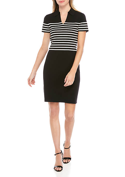 Anne Klein Stripe Collar Sheath Dress