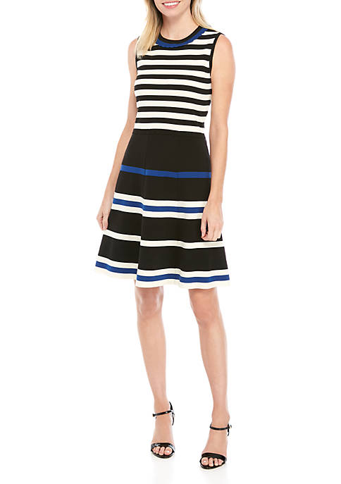 Anne Klein Stripe Fit and Flare Sweater Dress