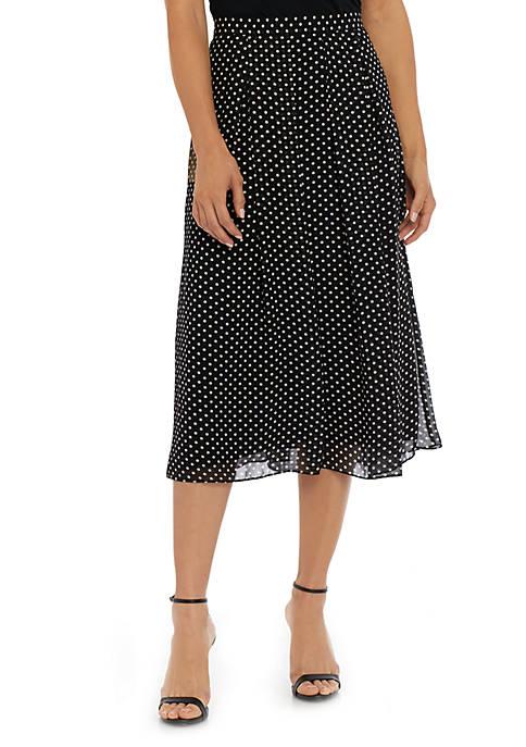Anne Klein Long Dot Pleated Skirt