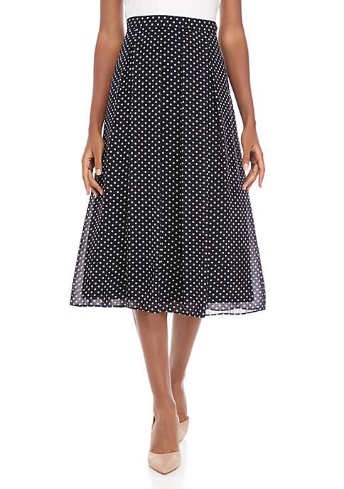 Long Dot Pleated Skirt