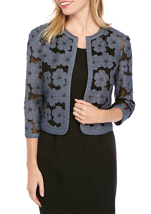 Anne Klein Floral Chambray Open Jacket
