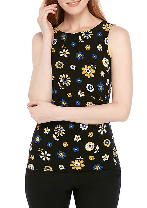 Anne Klein Floral Side Ruched Knit Top