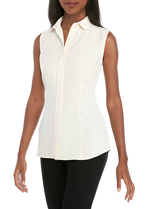 Anne Klein Sleeveless Peter Pan Collar Blouse