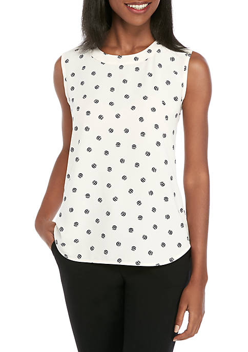 Anne Klein Sleeveless Dot U Neck Blouse