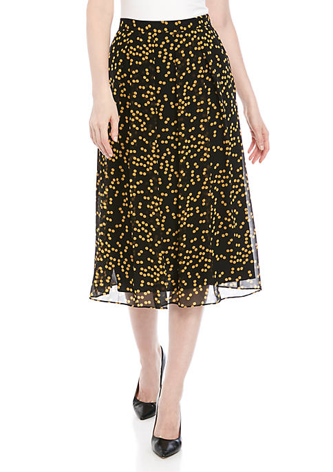 Anne Klein Dot Long Pleat Skirt