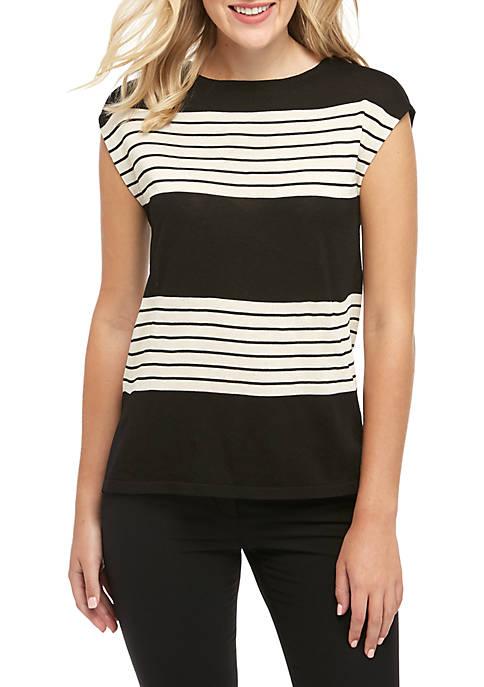 Anne Klein Stripe Short Sleeve Sweater
