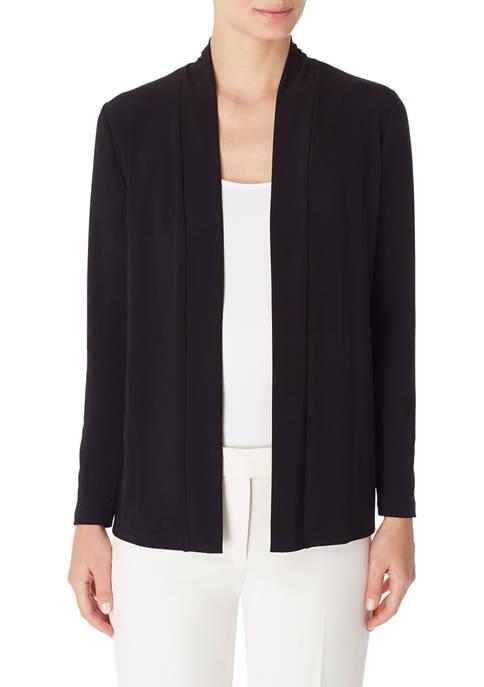 Anne Klein Womens Solid Tuxedo Knit Cardigan
