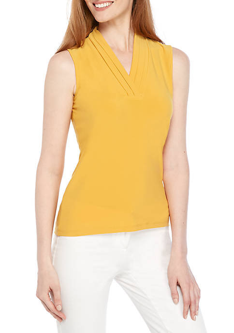 Anne Klein Solid Triple Pleat Sleeveless Knit Top
