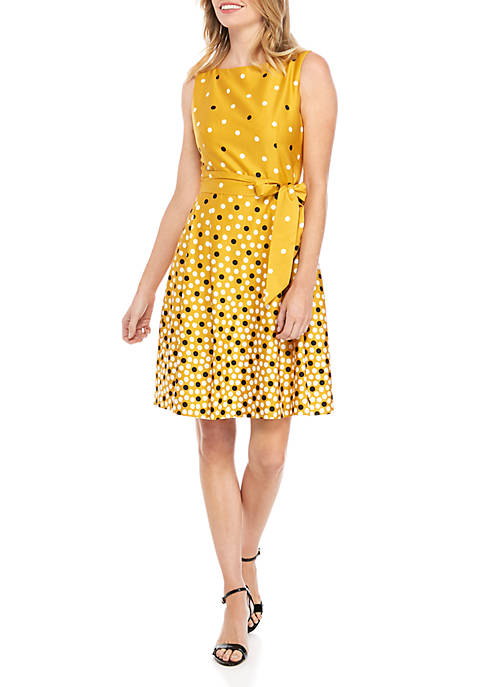 Anne Klein Scatter Dot Fit and Flare Dress