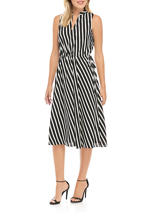 Anne Klein Bias Stripe Drawstring Midi Dress