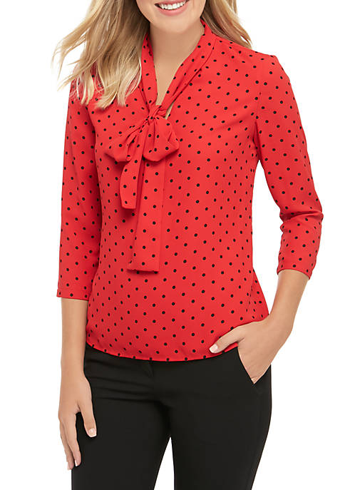 Anne Klein 3/4 Sleeve Dot Bow Blouse