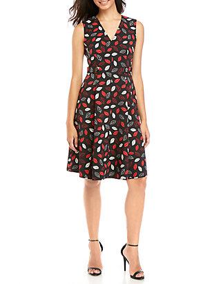 Leaf Print V-Neck Fit and Flare Dress