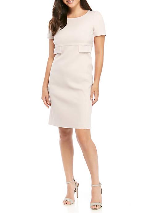 Anne Klein Womens Solid Flap Pocket Sheath Dress