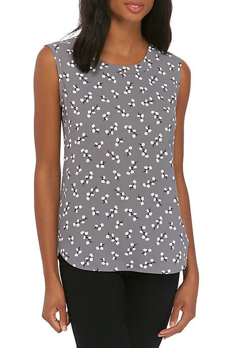 Anne Klein Womens Flower Print Shell Tank