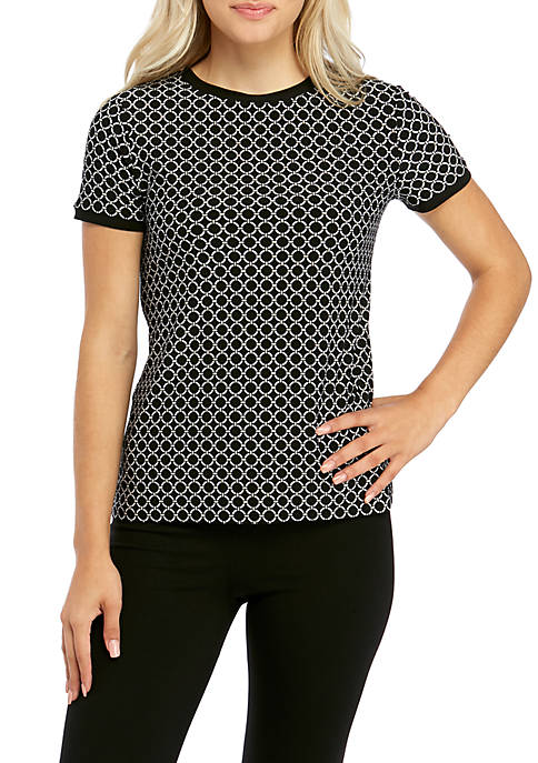 Anne Klein Womens Geo Print Button Back Top