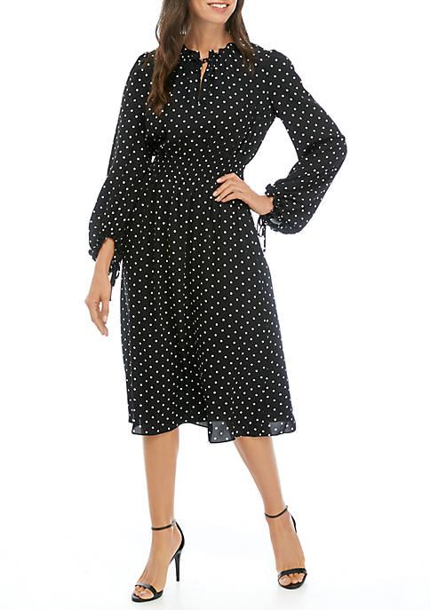 Anne Klein Womens Dot Smock Waist Dress