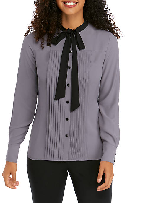 Anne Klein Long Sleeve Pintuck Bow Blouse