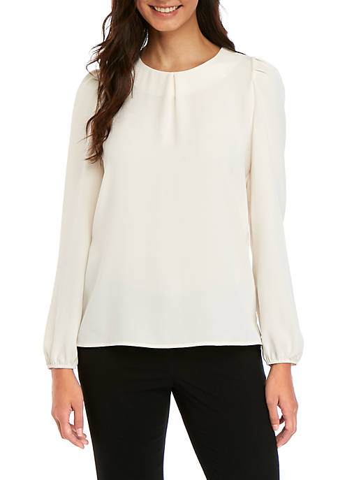 Long Sleeve Inverted Pleat Blouse