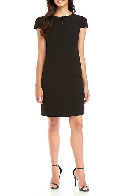 Keyhole Neck Crepe Shift Dress