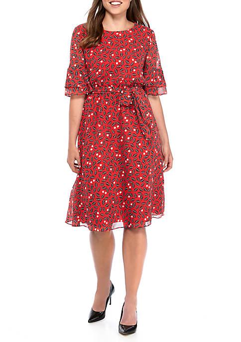 Anne Klein Bell Sleeve Elastic Waist Dress