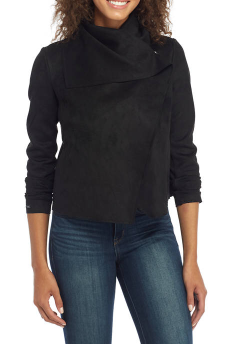 Womens Asymmetrical Faux Suede Jacket