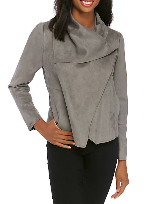 Anne Klein Womens Asymmetrical Faux Suede Jacket
