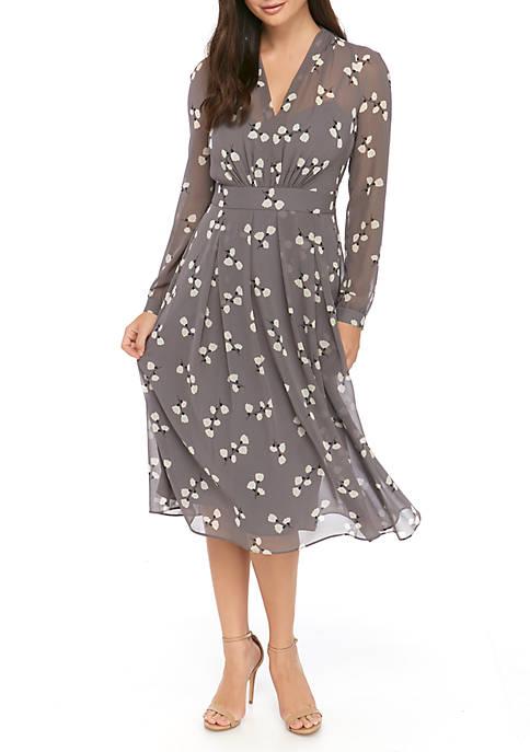 Anne Klein Womens V Neck Flower Print Dress