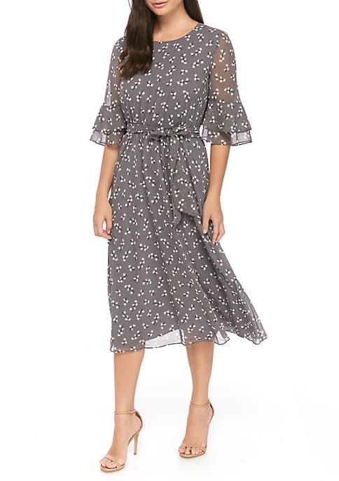 Womens Flower Print Elastic Waist Dress