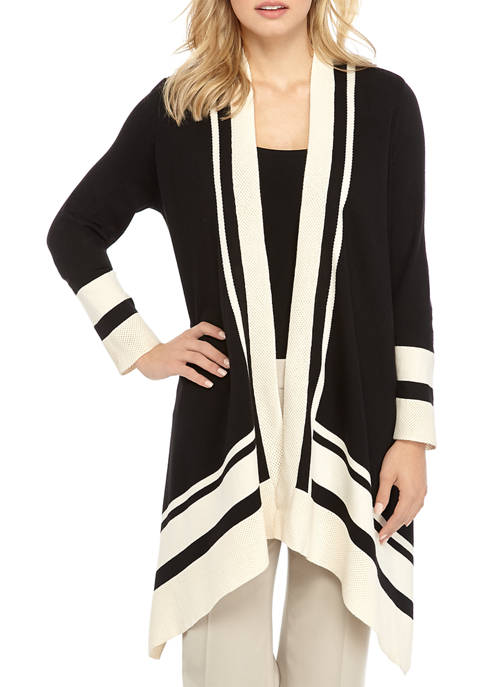 Anne Klein Womens Tipped Open Cardigan