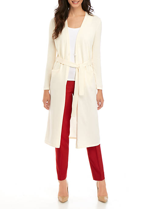 Anne Klein Tie Waist Long Cardigan