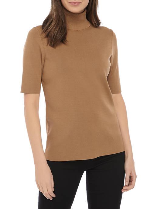 Anne Klein Elbow Sleeve Turtleneck Sweater