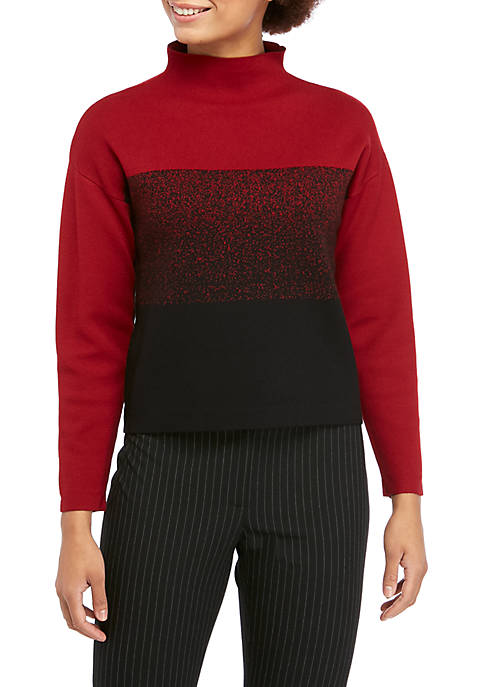 Anne Klein Womens Color Block Mock Neck Sweater