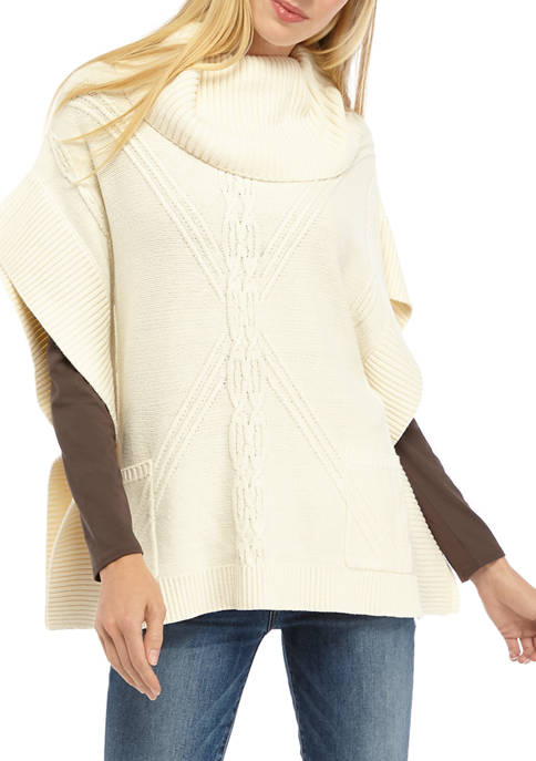 Womens Cowl Neck Cable Poncho