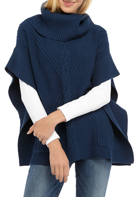Anne Klein Womens Cowl Neck Cable Poncho