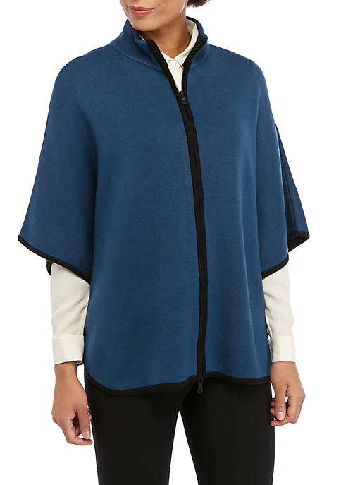 Womens Color Block Zip Front Cape