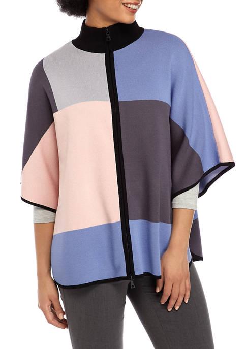 Anne Klein Womens Color Block Zip Front Cape